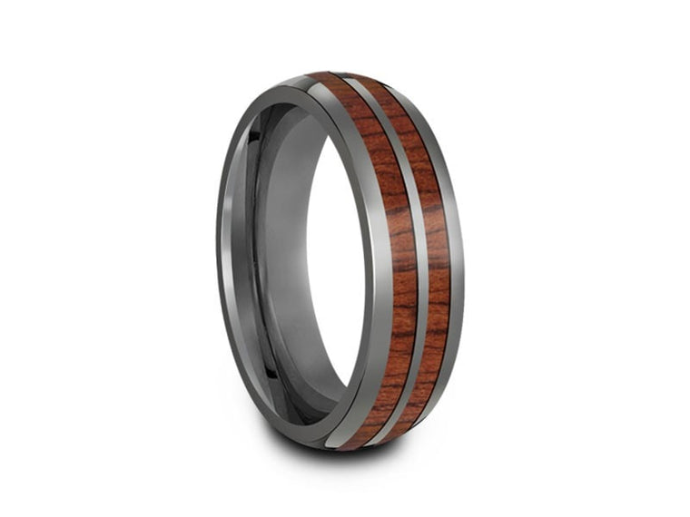 HAWAIIAN Double Koa Wood Row Inlay Tungsten Carbide Ring - Koa Wood Wedding Band - Double Wood Inlay - Engagement Band - Dome Shaped - Comfort Fit  6mm - Vantani Wedding Bands
