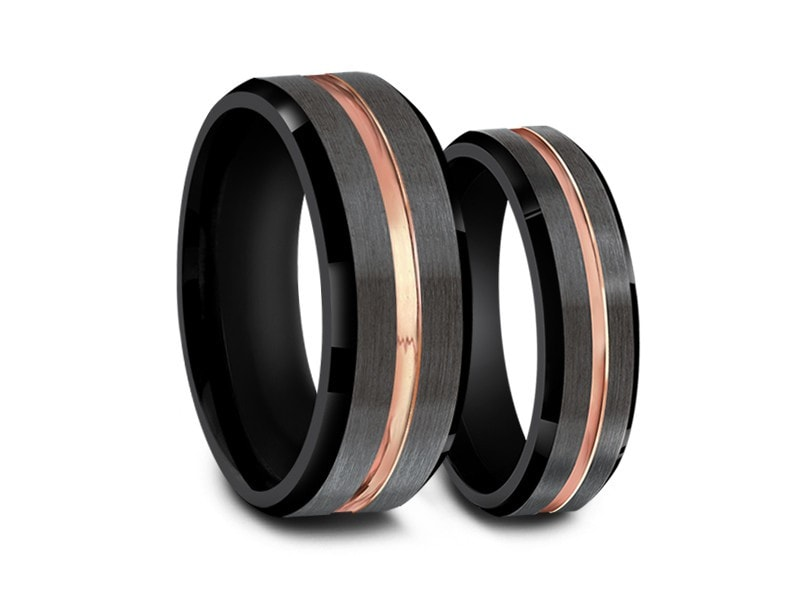6MM/8MM BRUSHED GRAY TUNGSTEN WEDDING BAND SET ROSE GOLD CENTER AND BLACK INTERIOR - Vantani Wedding Bands