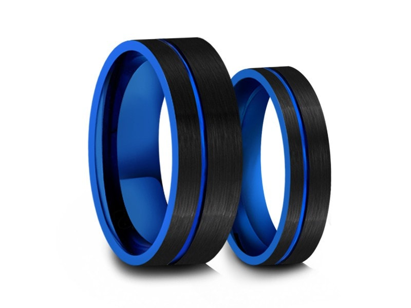 6MM/8MM BRUSHED BLACK FLAT TUNGSTEN WEDDING BAND SET BLUE CENTER AND BLUE INTERIOR - Vantani Wedding Bands