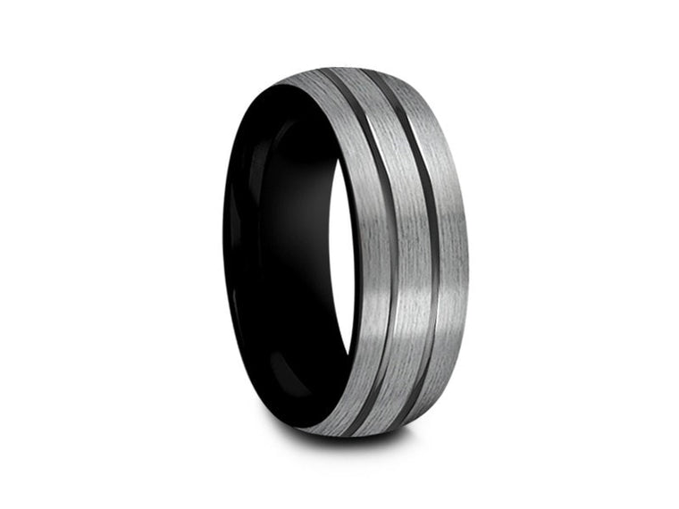 Brushed Tungsten Wedding Band Blue Plated inlay Gunmetal Two