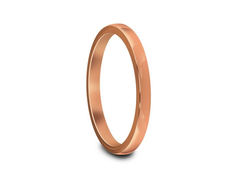 Tungsten Classic Wedding Band - High Polish - Rose Gold Plated - Engagement Ring - Flat Shaped - Comfort Fit  2mm - Vantani Wedding Bands