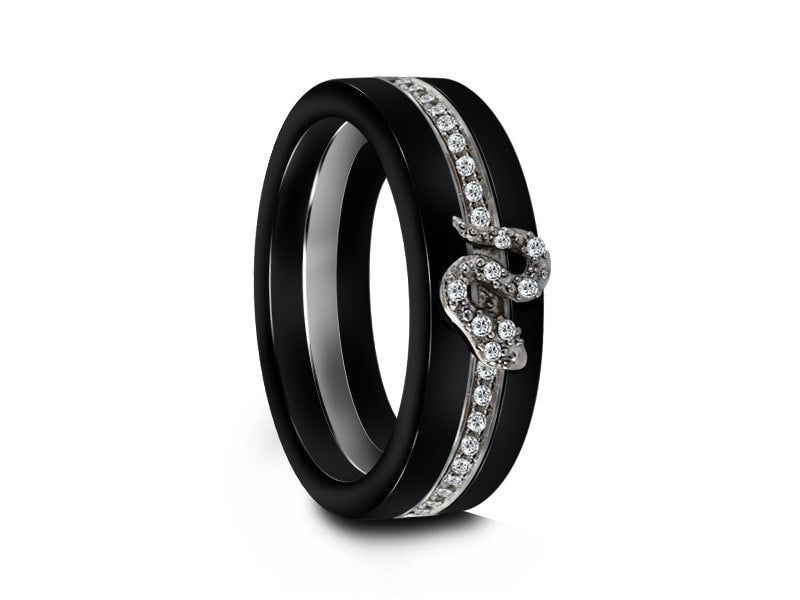 6MM BLACK CERAMIC BAND FLAT AND ETERNITY CZ'S INLAY - Vantani Wedding Bands
