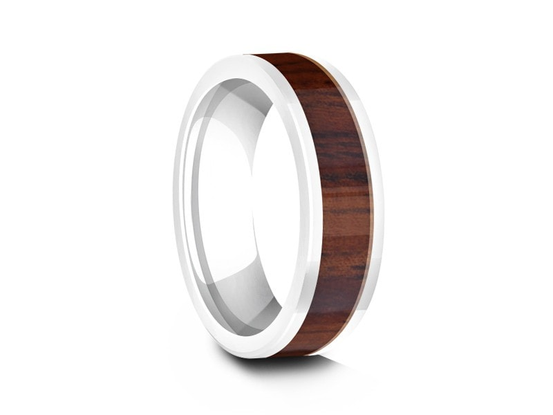 hawaiian koa wood inlay white ceramic ring ceramic wedding band 5th - Ceramic Wedding Rings