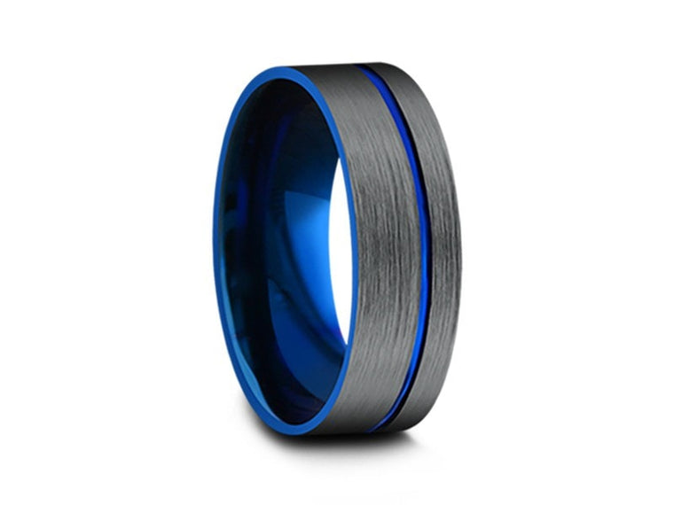 8MM BRUSHED GRAY GUNMETAL TUNGSTEN WEDDING BAND FLAT AND BLUE INTERIOR - Vantani Wedding Bands