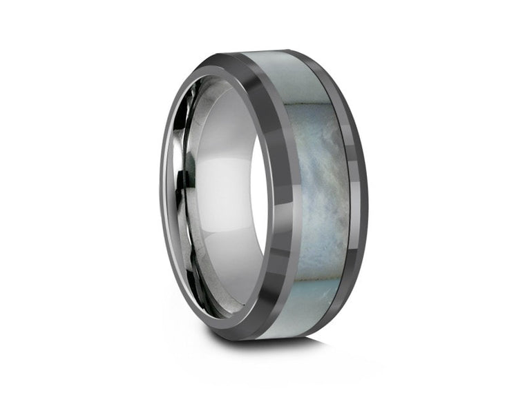 8MM MOTHER OF PEARL TUNGSTEN WEDDING BAND BEVELED AND GRAY INTERIOR - Vantani Wedding Bands