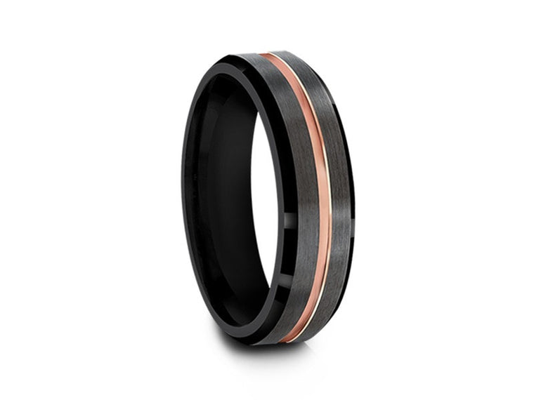 Brushed and Polished Tungsten Wedding Band - Gunmetal and Black Ring - Engagement Band - Beveled Shaped - Comfort Fit  6mm - Vantani Wedding Bands