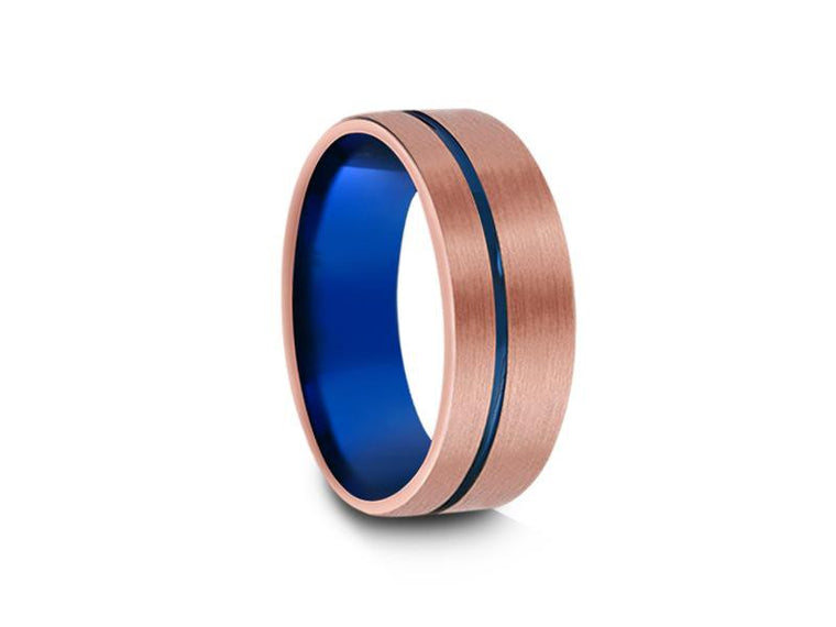 8MM BRUSHED ROSE GOLD TUNGSTEN WEDDING BAND BLUE LINE AND BLUE INTERIOR - Vantani Wedding Bands