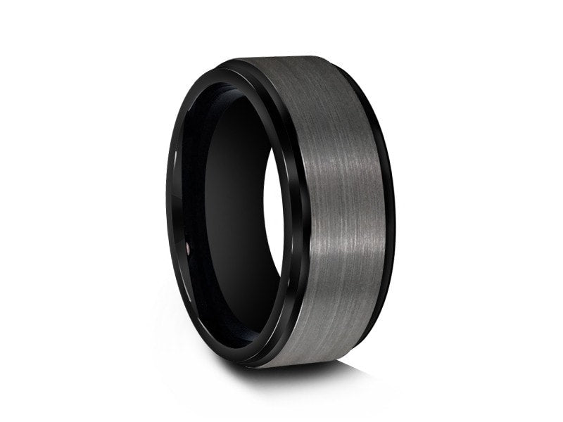8MM BRUSHED GRAY GUNMETAL TUNGSTEN WEDDING BAND BLACK EDGES AND BLACK INTERIOR - Vantani Wedding Bands