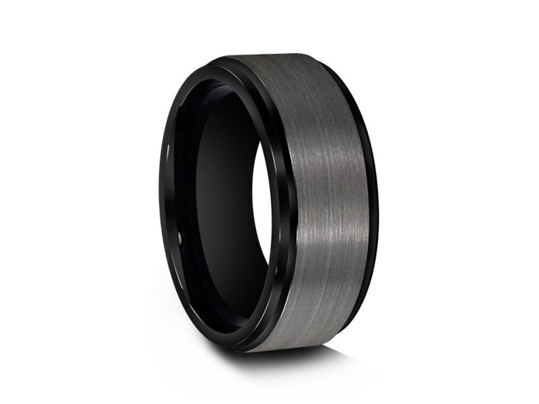 Brushed Gunmetal Tungsten Wedding Band - Engagement Ring -Black Inlay - Ridged Edges - Comfort Fit  8mm - Vantani Wedding Bands
