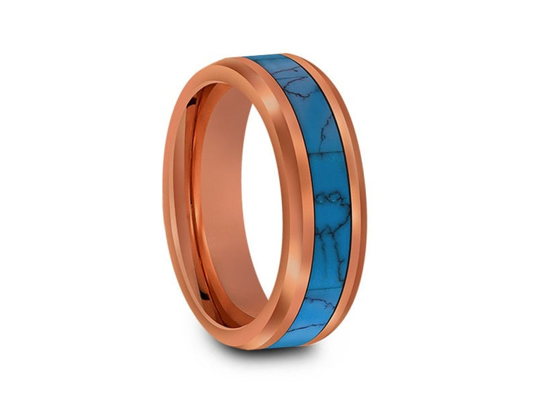 6MM TURQUOISE TUNGSTEN WEDDING BAND BEVELED AND ROSE GOLD INTERIOR - Vantani Wedding Bands