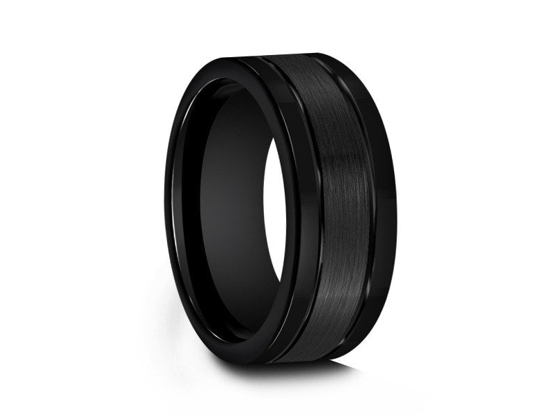 8MM BRUSHED BLACK TUNGSTEN WEDDING BAND FLAT AND BLACK INTERIOR - Vantani Wedding Bands