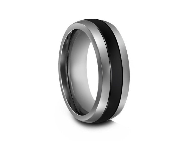 8MM TUNGSTEN WEDDING BAND BLACK CERAMIC INLAY AND GRAY INTERIOR - Vantani Wedding Bands