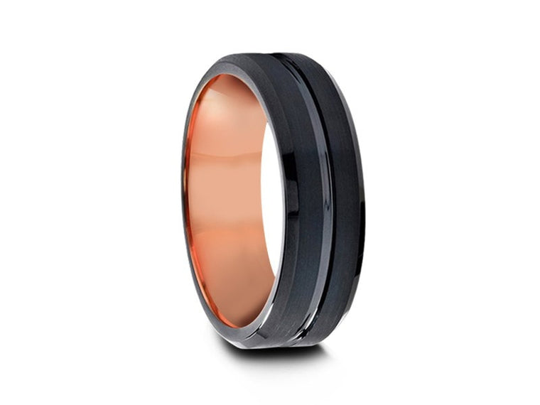 6MM BRUSHED BLACK TUNGSTEN WEDDING BAND BEVELED AND ROSE GOLD INTERIOR - Vantani Wedding Bands