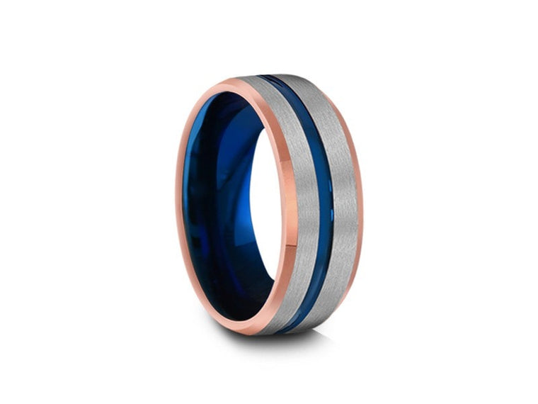 Blue Gunmetal Tungsten Wedding Band - Brushed Polished - Rose Gold Plated inlay - Engagement Ring - Beveled Shaped - Comfort Fit   8MM - Vantani Wedding Bands