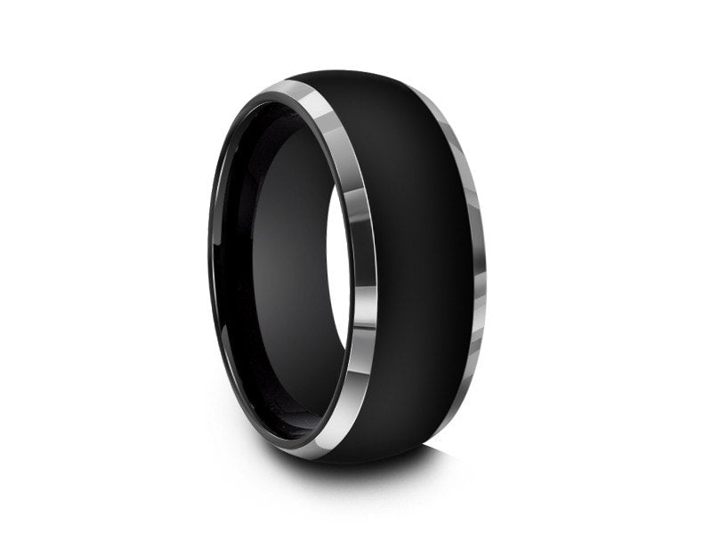 8MM HIGH POLISH BLACK DOME TUNGSTEN WEDDING BAND GRAY EDGES AND BLACK INTERIOR - Vantani Wedding Bands