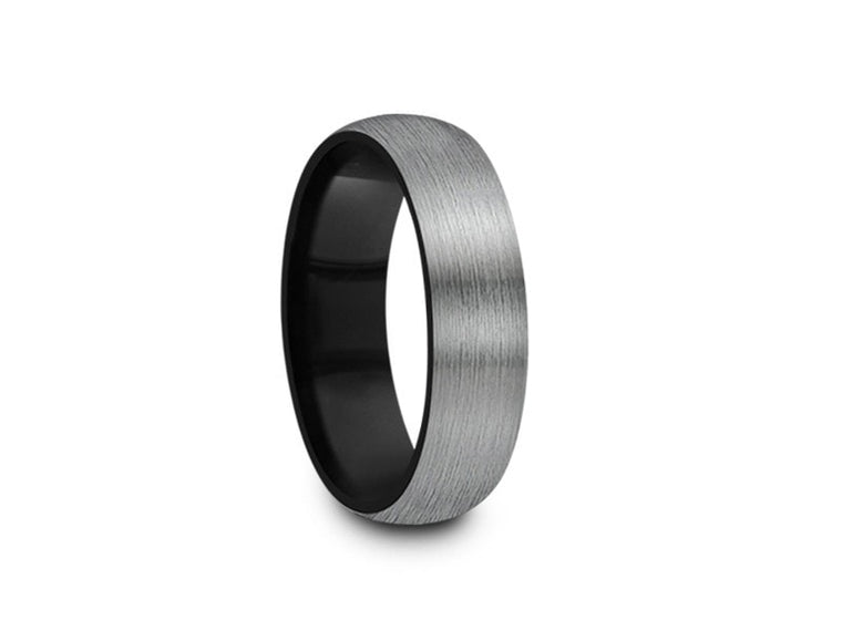 6MM BRUSHED GRAY GUNMETAL TUNGSTEN WEDDING BAND DOME AND BLACK INTERIOR - Vantani Wedding Bands