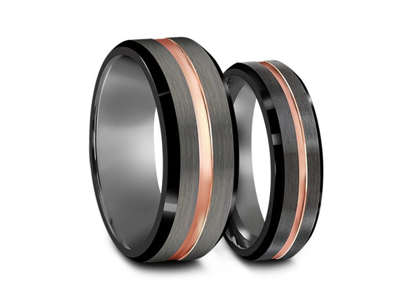 6MM/8MM BRUSHED GRAY TUNGSTEN WEDDING BAND SET ROSE GOLD CENTER BLACK EDGES AND GRAY INTERIOR - Vantani Wedding Bands