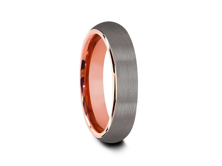 Rose Gold Tungsten Wedding Band - Gray Brushed Ring - Rose Gold Plated Inlay - Two Tone - Dome Shaped - Comfort Fit  6mm - Vantani Wedding Bands