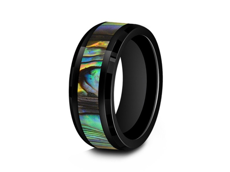 8MM ABALONE CERAMIC WEDDING BAND BEVELED AND BLACK INTERIOR - Vantani Wedding Bands