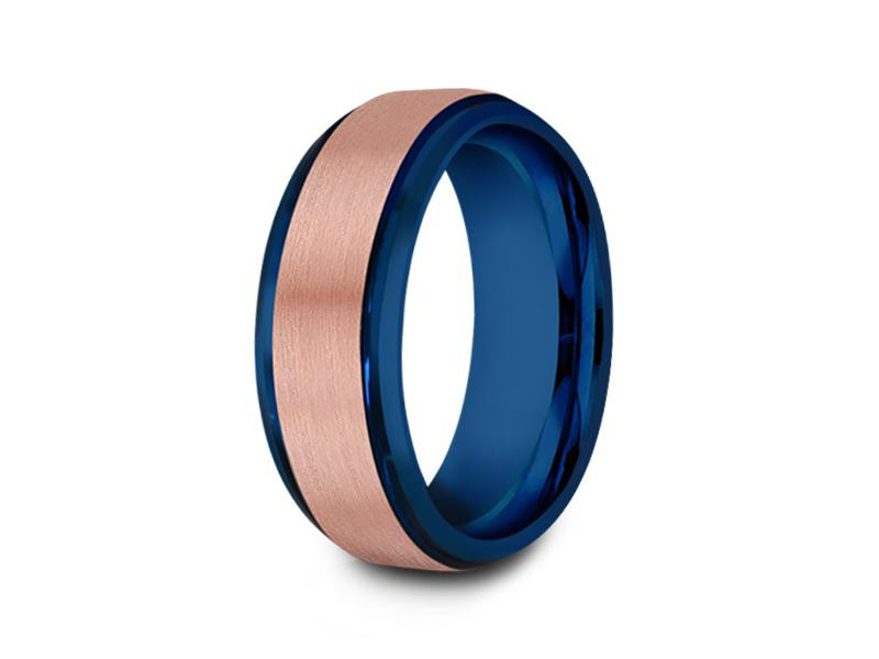 8MM BRUSHED ROSE GOLD TUNGSTEN WEDDING BAND BEVELED AND BLUE INTERIOR - Vantani Wedding Bands