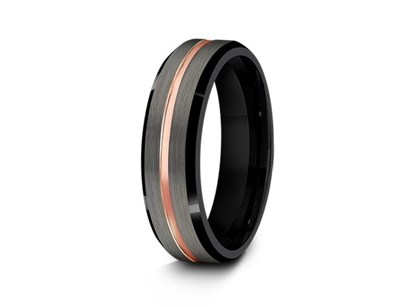 6MM BRUSHED GRAY TUNGSTEN WEDDING BAND ROSE GOLD CENTER AND BLACK INTERIOR - Vantani Wedding Bands