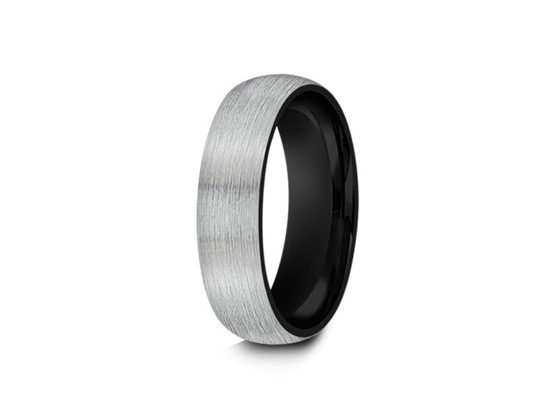 Black Brushed Tungsten Wedding Band - Gray Gunmetal - Two Tone - Engagement Ring - Dome Shaped -  Comfort Fit  6mm - Vantani Wedding Bands