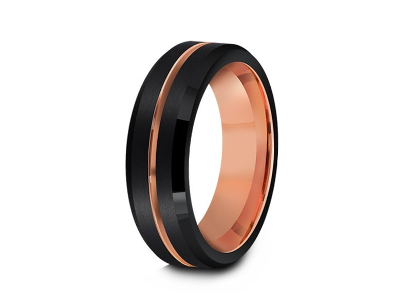 6MM BRUSHED BLACK TUNGSTEN WEDDING BAND ROSE GOLD CENTER AND ROSE GOLD INTERIOR - Vantani Wedding Bands