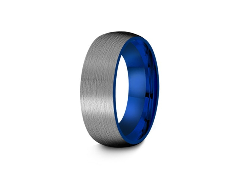 8MM BRUSHED GRAY GUNMETAL TUNGSTEN WEDDING BAND DOME AND BLUE INTERIOR - Vantani Wedding Bands