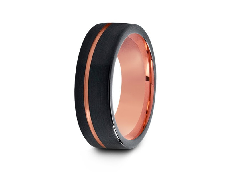8MM BRUSHED BLACK TUNGSTEN WEDDING BAND FLAT AND ROSE GOLD INTERIOR - Vantani Wedding Bands