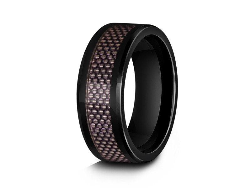 8MM BLACK CERAMIC WEDDING BAND BEVELED AND PURPLE CARBON FIBER INLAY - Vantani Wedding Bands