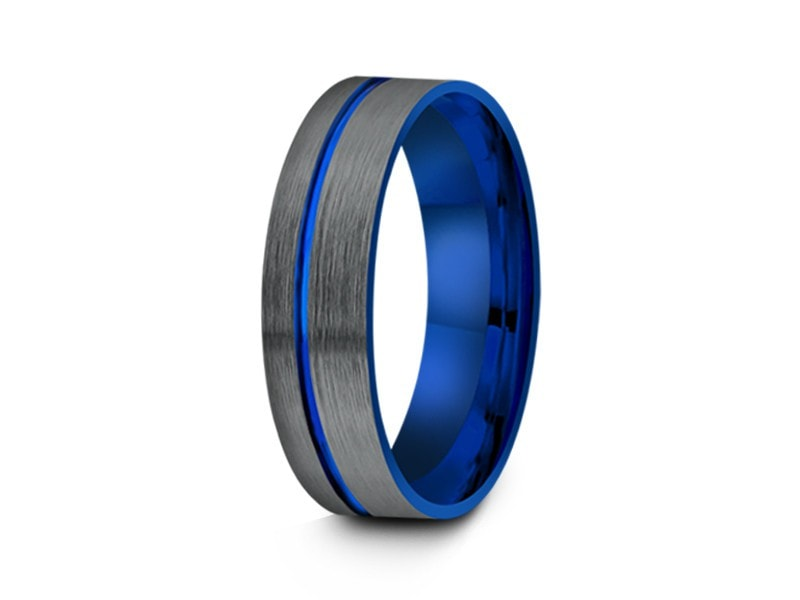 brushed and blue tungsten wedding band engagement ring two tone band gunmetal