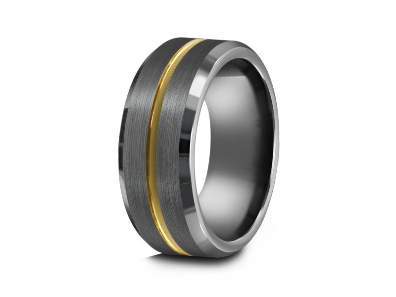8MM BRUSHED GRAY TUNGSTEN WEDDING BAND YELLOW GOLD CENTER AND GRAY INTERIOR - Vantani Wedding Bands