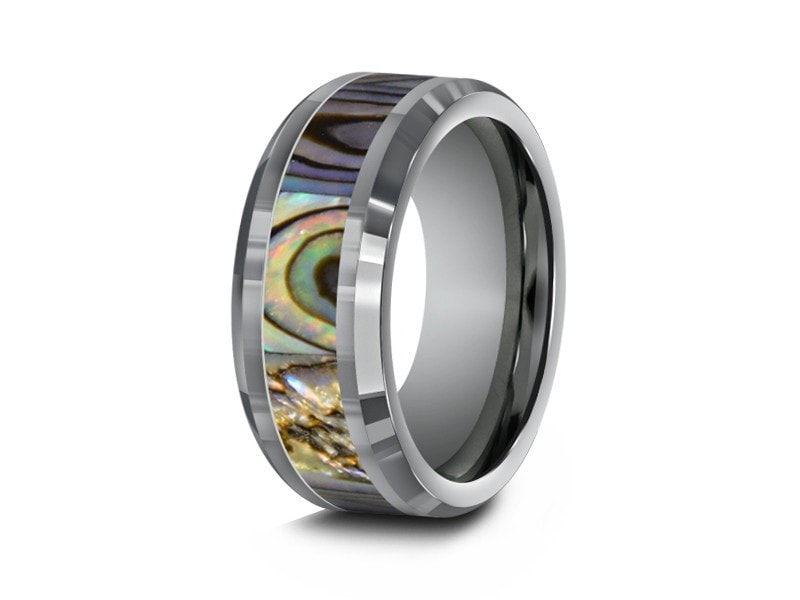 8MM ABALONE TUNGSTEN WEDDING BAND BEVELED AND GRAY INTERIOR - Vantani Wedding Bands