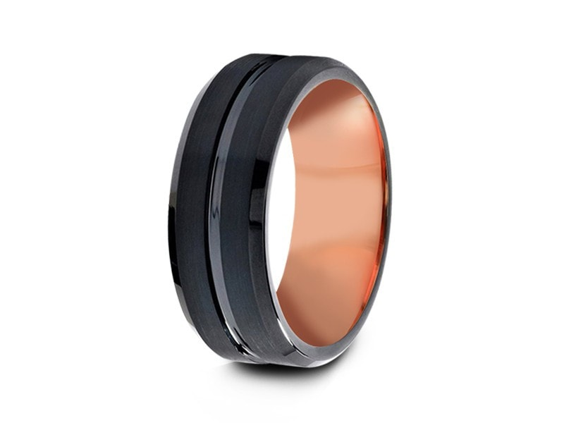 8MM BRUSHED BLACK TUNGSTEN WEDDING BAND BEVELED AND ROSE GOLD INTERIOR - Vantani Wedding Bands