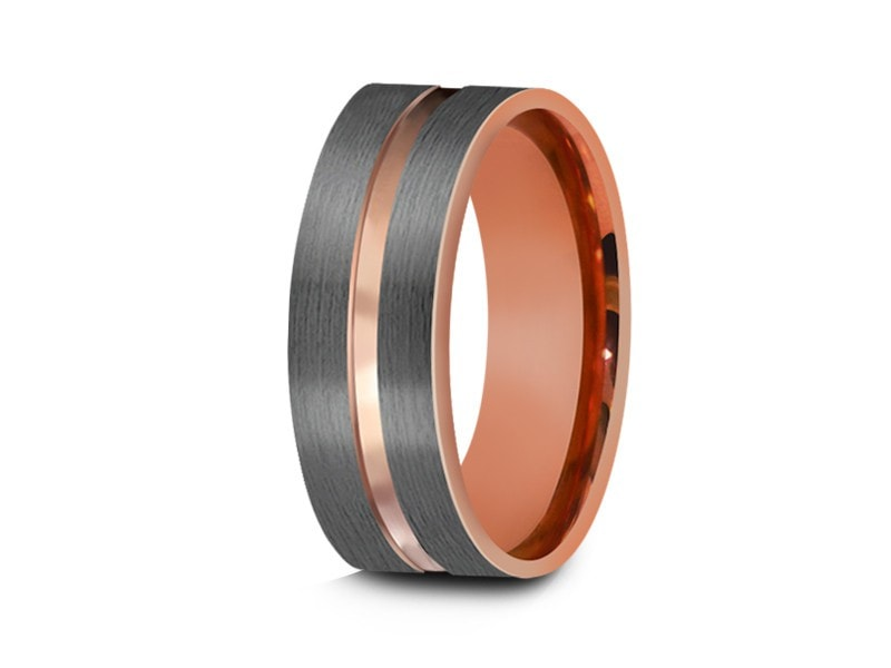 Rose Gold Tungsten Wedding Band - Gray Brushed Ring - Rose Gold Plated Inlay - Two Tone - Engagement Ring - Flat Shaped  - Comfort Fit 8mm - Vantani Wedding Bands