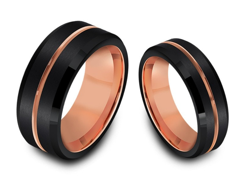 6MM/8MM BLACK TUNGSTEN WEDDING BAND SET ROSE GOLD CENTER AND ROSE GOLD INTERIOR - Vantani Wedding Bands