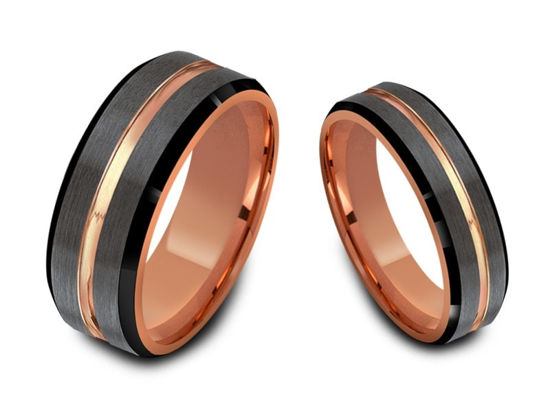 6MM/8MM BRUSHED GRAY TUNGSTEN WEDDING BAND SET BLACK EDGES ROSE GOLD CENTER AND INTERIOR - Vantani Wedding Bands