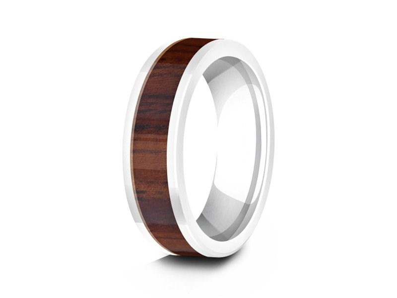 6MM HAWAIIAN KOA WOOD CERAMIC WEDDING BAND FLAT AND WHITE INTERIOR - Vantani Wedding Bands
