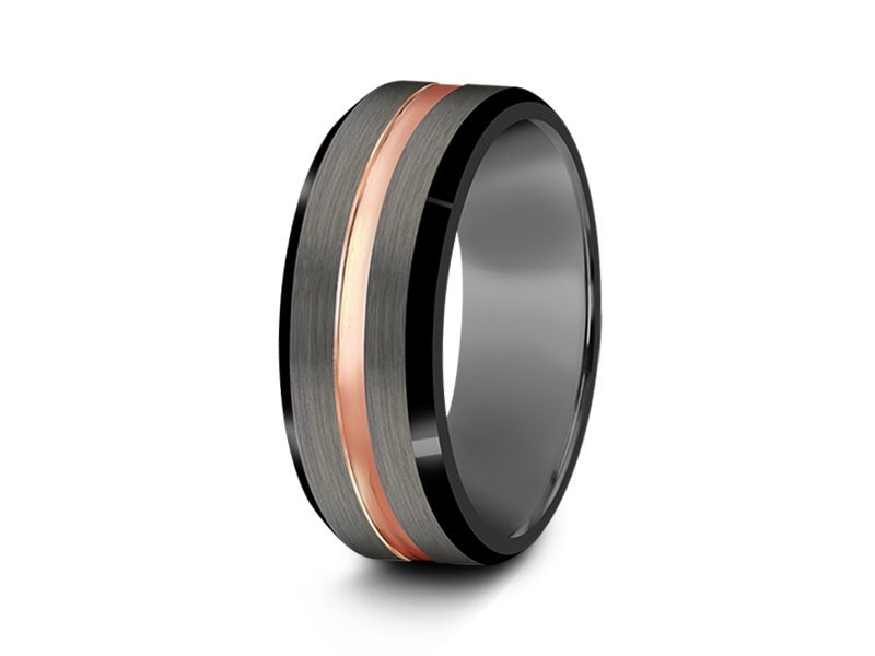 8MM BRUSHED GRAY GUNMETAL TUNGSTEN WEDDING BAND ROSE GOLD CENTER BLACK EDGES AND GRAY INTERIOR - Vantani Wedding Bands