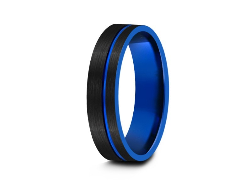 6MM BRUSHED BLACK TUNGSTEN WEDDING BAND FLAT AND BLUE INTERIOR - Vantani Wedding Bands