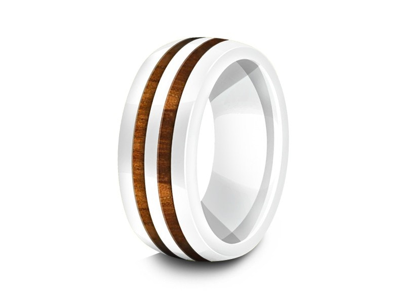8MM HAWAIIAN KOA WOOD CERAMIC WEDDING BAND WHITE CENTER AND WHITE INTERIOR - Vantani Wedding Bands