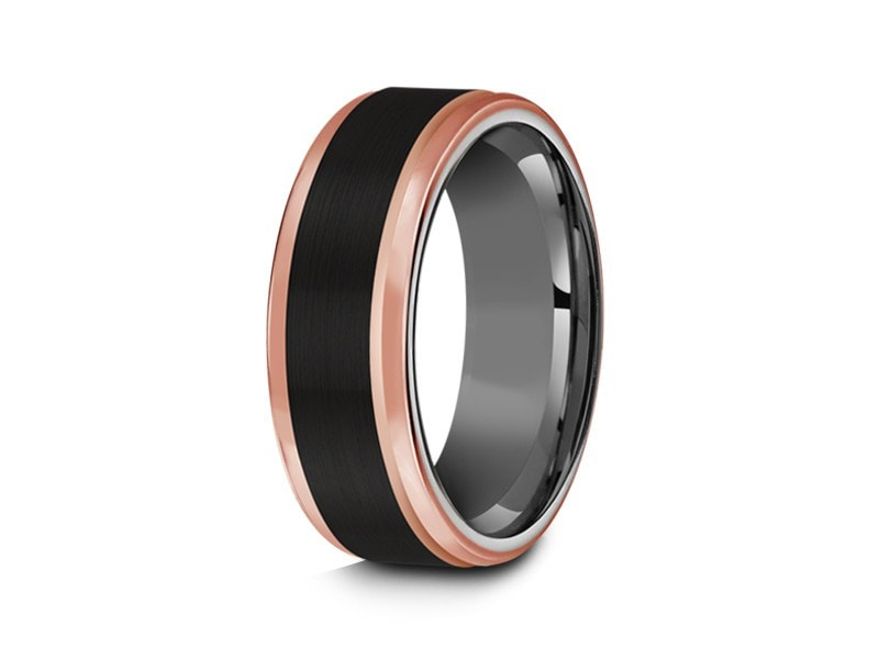 8MM BRUSHED BLACK TUNGSTEN WEDDING BAND ROSE GOLD EDGES AND GRAY INTERIOR - Vantani Wedding Bands