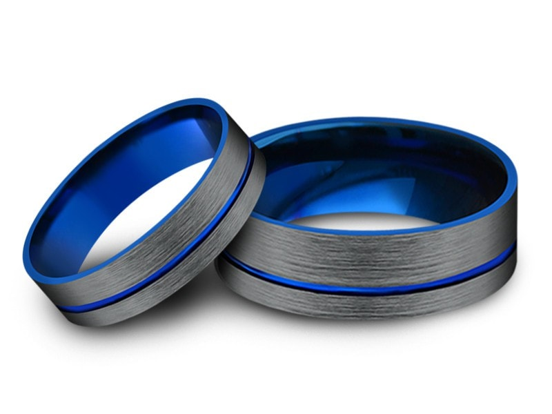 6MM/8MM BRUSHED GRAY FLAT TUNGSTEN WEDDING BAND SET BLUE CENTER AND BLUE INTERIOR - Vantani Wedding Bands