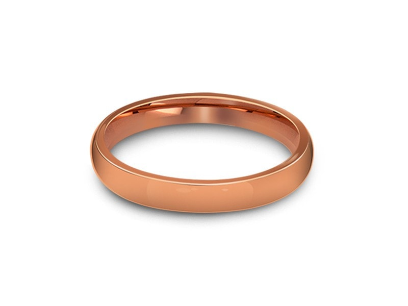 3MM HIGH POLISH ROSE GOLD TUNGSTEN WEDDING BAND DOME AND ROSE GOLD INTERIOR - Vantani Wedding Bands