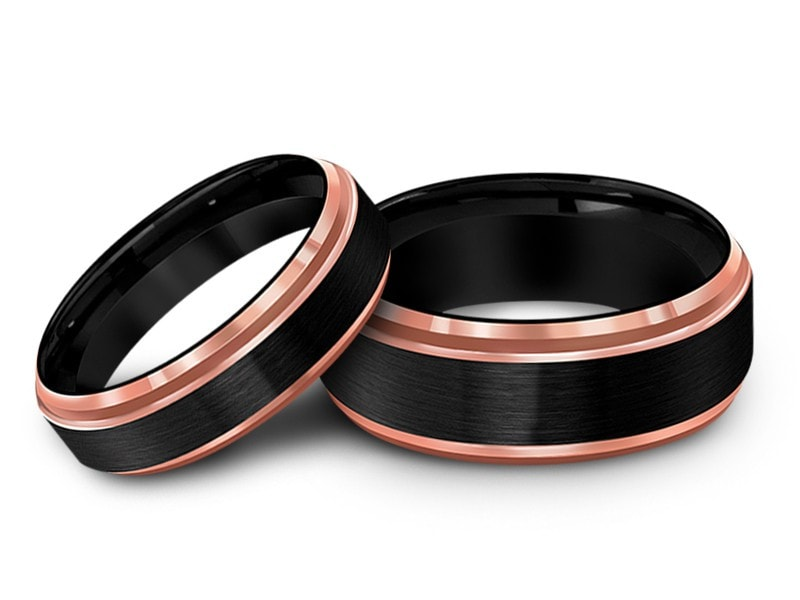 6MM/8MM BRUSHED BLACK TUNGSTEN WEDDING BAND SET ROSE GOLD EDGES AND BLACK INTERIOR - Vantani Wedding Bands