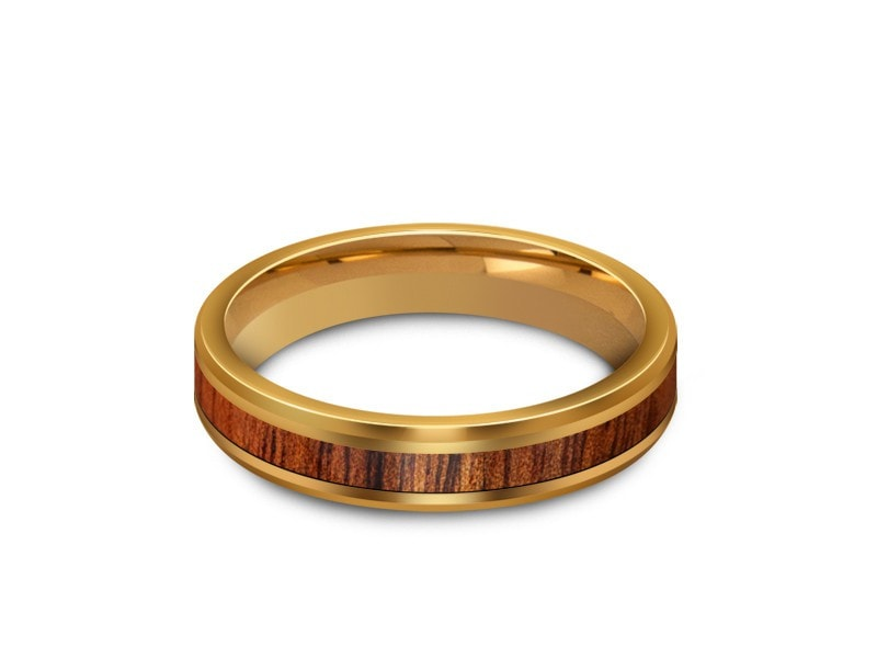 4MM HAWAIIAN KOA WOOD TUNGSTEN WEDDING BAND BEVELED AND YELLOW PLATED INTERIOR - Vantani Wedding Bands