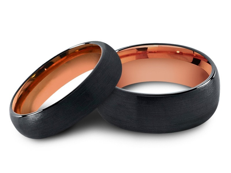 6MM/8MM BRUSHED BLACK TUNGSTEN WEDDING BAND SET DOME AND ROSE GOLD INTERIOR - Vantani Wedding Bands
