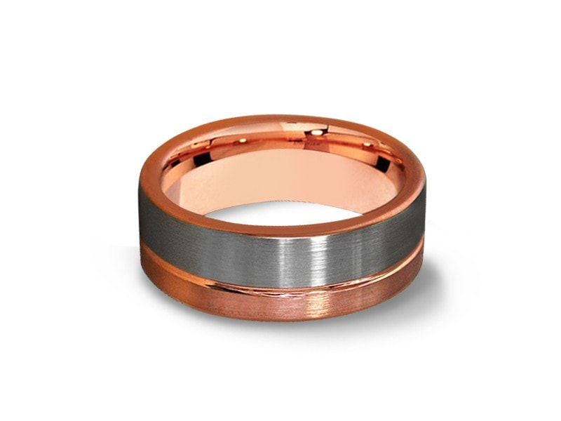 8MM BRUSHED GRAY AND ROSE GOLD TUNGSTEN WEDDING BAND FLAT AND ROSE GOLD INTERIOR - Vantani Wedding Bands