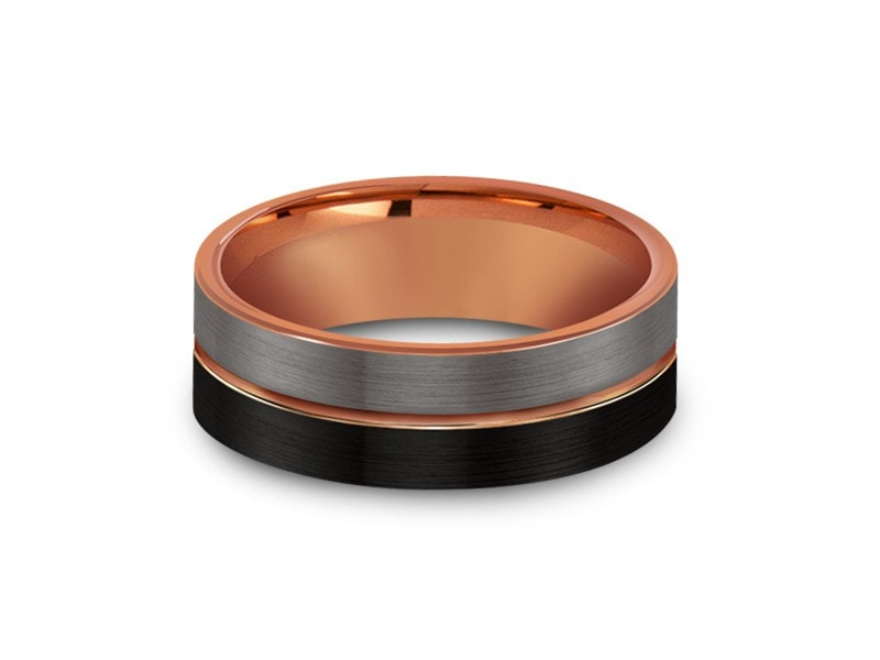 8MM BRUSHED GRAY AND BLACK TUNGSTEN WEDDING BAND ROSE GOLD CENTER AND ROSE GOLD INTERIOR - Vantani Wedding Bands