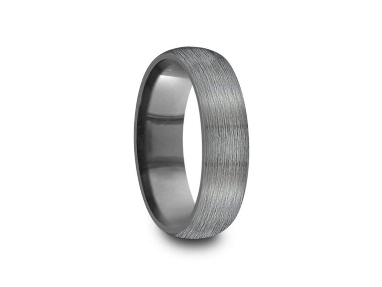 6MM BRUSHED GRAY GUNMETAL TUNGSTEN WEDDING BAND DOME AND GRAY INTERIOR - Vantani Wedding Bands